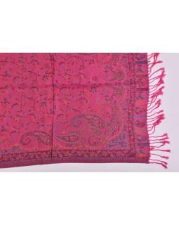 Velká šála s motivem paisley, s třásněmi, tmavě růžová, 68x180cm