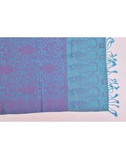 Velká šála s motivem paisley, s třásněmi, tyrkysová, 68x180cm