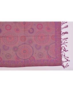 Velká šála s motivem mandal, s třásněmi, fialová, 68x180cm
