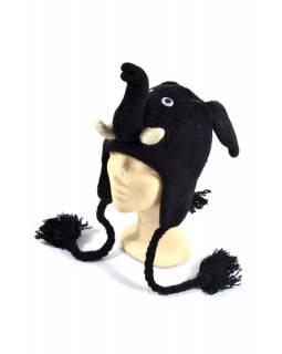 Čepice s ušima, Černý slon, vlna, podšívka