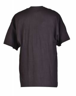 Tričko, pánské, krátký rukáv, černé, vyšívané, Buddhovy oči šedivé