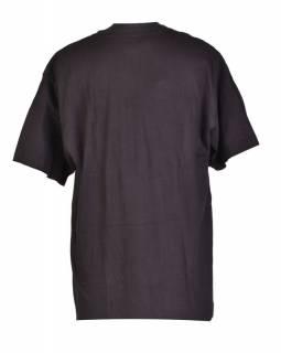 Tričko, pánské, krátký rukáv, černé, výšivka čtyři červené ještěrky v kruhu