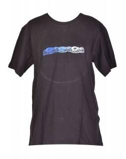 Tričko, pánské, krátký rukáv, černé, výšivka Three dog in line, modrá