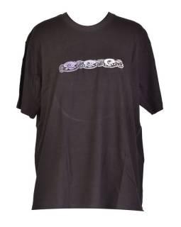 Tričko, pánské, krátký rukáv, černé, výšivka Three dog in line, šedivá