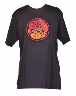 Tričko, pánské, krátký rukáv, černé, výšivka Three dog in a circle, červená