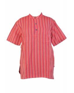 Pruhovaná pánská košile-kurta s krátkým rukávem a kapsičkou, červená