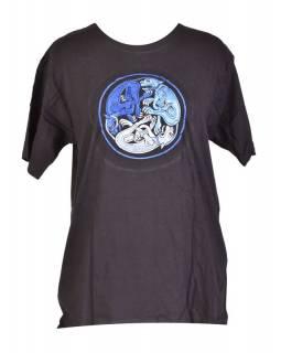 Tričko, pánské, krátký rukáv, černé, výšivka Three dog in a circle, modrá