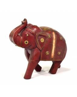 Slon, dřevěný, ručně malovaný, zdobený mosazí, 25x13x25cm