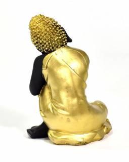 Buddha jako princ Siddharta, černý, zlatá patina, pryskyřice, 15x13x23cm