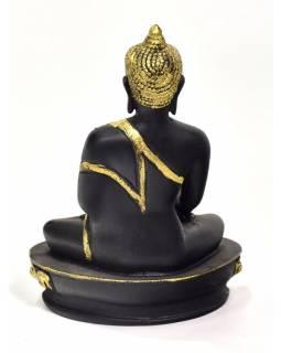 Buddha Šakjamuni, černý, zlatá patina, pryskyřice, 14x10x20cm