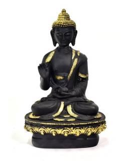 Buddha Amoghasiddhi, černý, zlatá patina, pryskyřice, 14x10x20cm