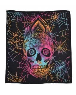 Přehoz na postel, lebka s pavučinou, barevná batika, 230x200cm