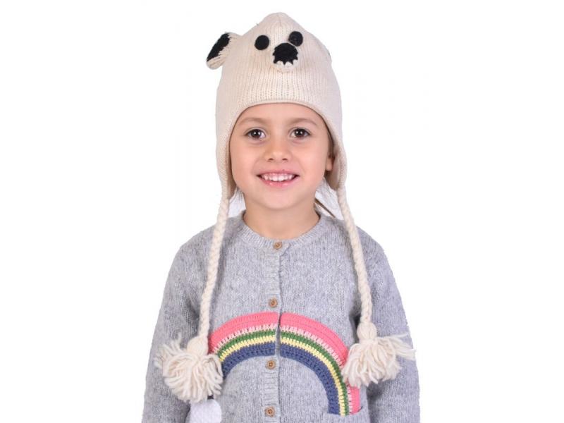 Čepice, dětské, bílý medvěd, vlna, podšívka
