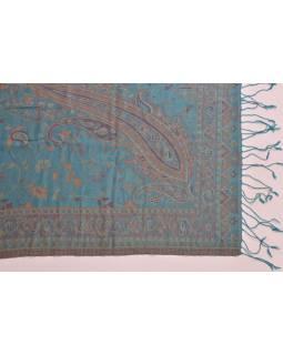 Hedvábný přehoz na postel s třásněmi a vzorem, 260x240cm