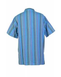 Pruhovaná pánská košile-kurta s krátkým rukávem a kapsičkou, modrá
