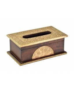 Krabička na kapesníky, drěvěná, zdobená mosazným plechem, 26x15x10cm