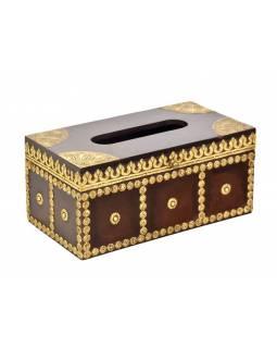Krabička na kapesníky, drěvěná, zdobená mosazným plechem, 28x15x13cm