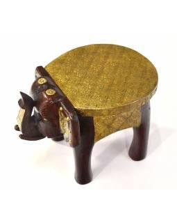 Stolička ve tvaru slona zdobená mosazným kováním, 27x20x17cm