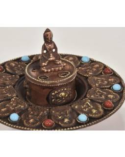 Měděný stojánek na vonné tyčinky, Buddha, 10x10x8cm