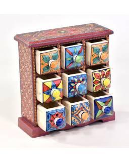 Skříňka s 9 keramickými šuplíky, ručně malovaná, 26x12x26cm