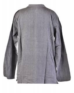 Tmavě šedá pánská košile-kurta s dlouhým rukávem a kapsičkou