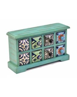 Skříňka s 8 keramickými šuplíky, ručně malovaná, 31x10x18cm