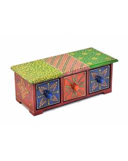 Dřevěná skříňka s 3 šuplíky, ručně malovaná, zelená, 28x11x13cm