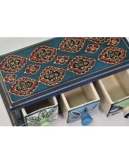 Dřevěná skříňka s 3 keramickými šuplíčky, 23x10x10cm