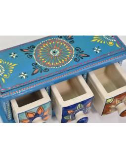 Dřevěná skříňka se 3 keramickými šuplíčky, 25x11x12cm