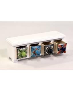 Dřevěná skříňka se 4 keramickými šuplíčky, 32x10x11cm