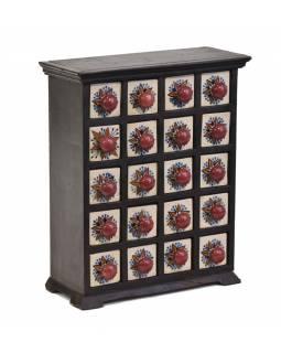 Dřevěná skříňka s 20 keramickými šuplíčky, 29x13x35cm