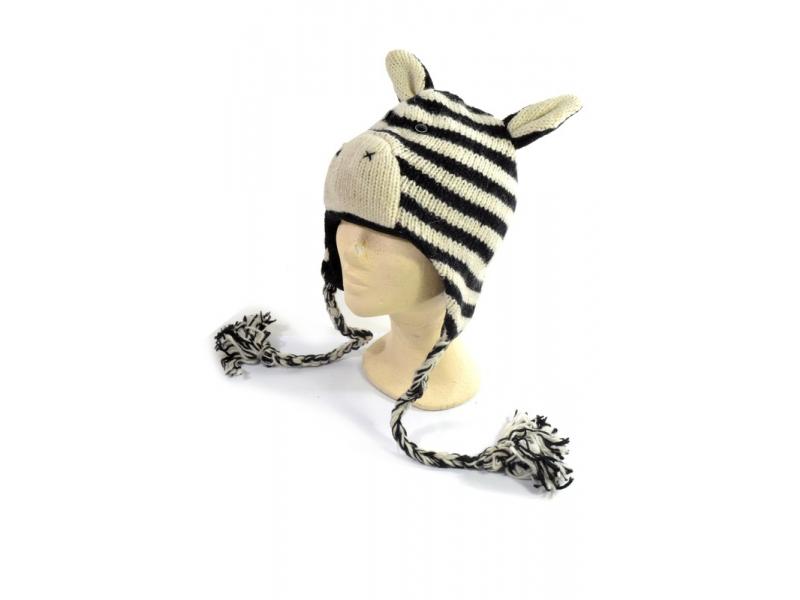Čepice s ušima, Zebra 2, vlna, podšívka