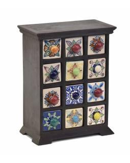 Dřevěná skříňka s 12 keramickými šuplíčky, 23x12x29cm