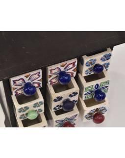 Dřevěná skříňka s 9 keramickými šuplíčky, 23x12x23cm