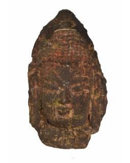 Unikátní maska hlava Buddhy, keramika v úpravě dřeva, 36cm