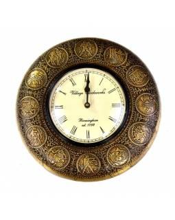 Nástěnné hodiny, tepaná mosaz, zodiac, prům.29cm