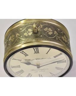 Oboustranné závěsné hodiny, zlatá, květinový motiv, zdobený mosazný plech, 22cm