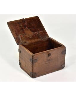 Stará truhlička z teakového dřeva, 19x14x15cm