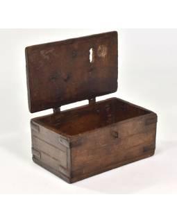 Stará truhlička z teakového dřeva, 24x16x12cm