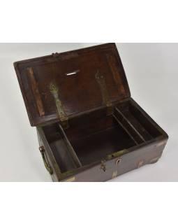 Stará truhlička z teakového dřeva, 38x23x15cm