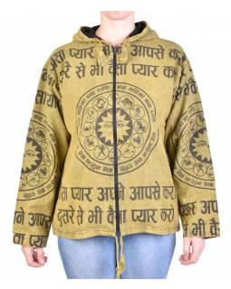 Pánská bunda s kapucí zapínaná na zip, zelená, potisk zvěrokruh, stone wash