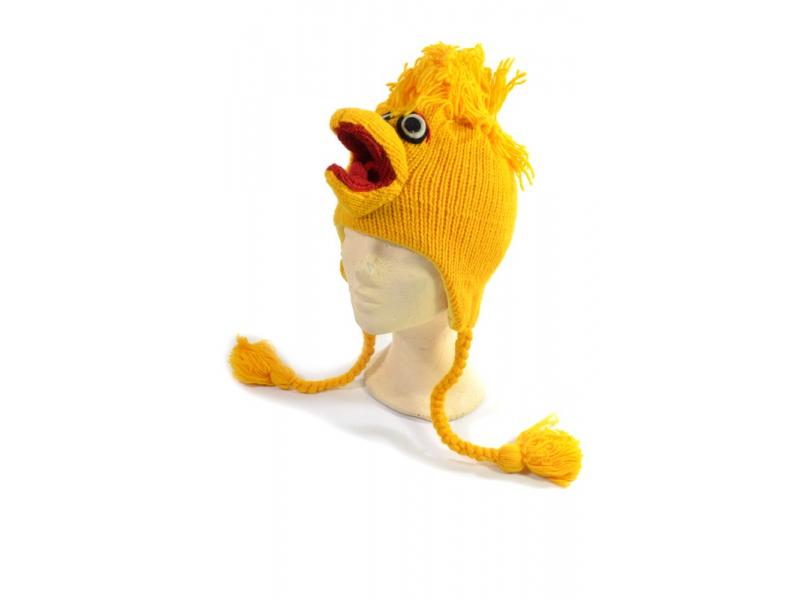 Čepice s ušima, Žlutý pták, vlna, podšívka