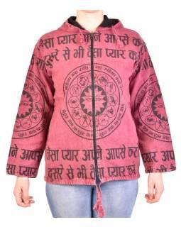 Pánská bunda s kapucí zapínaná na zip, fialová, potisk zvěrokruh, stone wash