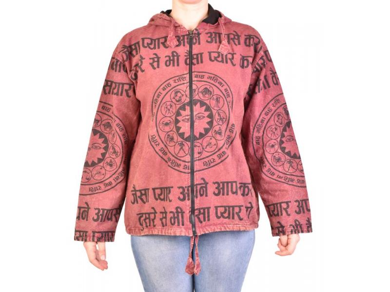 Pánská bunda s kapucí zapínaná na zip, vínová, potisk zvěrokruh, stone wash