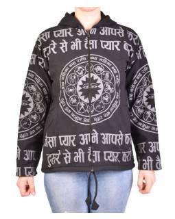 Pánská bunda s kapucí zapínaná na zip, černá, potisk zvěrokruh, stone wash