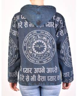 Pánská bunda s kapucí zapínaná na zip, tmavě modrá, potisk zvěrokruh, stone wash