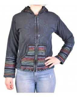 Pánská bunda s kapucí zapínaná na zip, tmavě modrá, ruční výšivka, stone wash