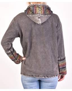 Pánská bunda s kapucí zapínaná na zip, tmavě šedivá, ruční výšivka, stone wash