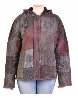Pánská bunda s kapucí zapínaná na zip, tmavě šedá, potisk, stone wash