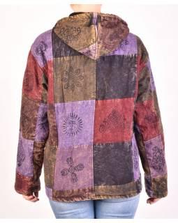 Pánská bunda s kapucí zapínaná na zip, fialovo-hnědá, potisk, stone wash